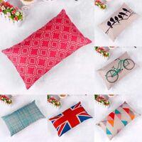 Linen Cotton Throw Pillow Case Rectangle Cushion Cover Home Sofa Waist Decor