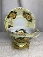 Vintage LEFTON CHINA hand painted Tea / coffee Cup set Yellow flowers with gold