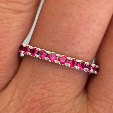 14k White Gold Ruby Eternity Wedding Anniversary Band Ring Guard enhancer