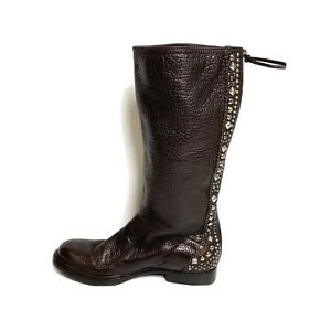 Miu Miu Flat Brown Leather Boots Stud Detailing Size 41 Great Condition