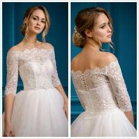 Lace Wedding Jacket Bolero White Ivory Off the Shoulder Topper 3/4 Sleeve Custom