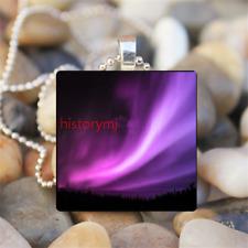 pretty Northern light Aurora Borealis Glass Dome Chain Pendant Necklace NEW