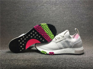 $180 Adidas Originals NMD Racer Primeknit Shoes Casual Athletic Grey-Pink-Yellow