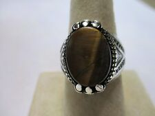 Sterling Silver Tiger's Eye Men's ring Dragon Claw Style 15x12mm stone size 9