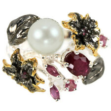REAL WHITE PEARL CABOCHON & RED RUBY STERLING 925 SILVER 3-TONE FLOWER RING 8