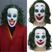 Halloween Batman Joker mask Cosplay Horror Scary Clown Mask w / Green Hair