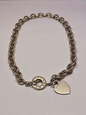 TIFFANY & CO 925 STERLING SILVER HEART NECKLACE, CHOCKER DESIGN