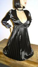 robe T38/40 satin noir échancrée et plissée longue neuve dress UK10/12 718&