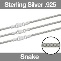 """Sterling Silver CLASSIC SNAKE Chain Necklace 16""""/18""""/20""""/24"""" with Lobster Clasp"""