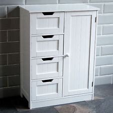 Bathroom 4 Drawer Cabinet Door Storage Cupboard Wooden White By Home Discount