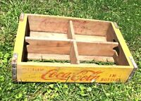 Vintage Coca Cola COKE WOODEN CRATE Carrier Yellow Antique Patina Beverage AD
