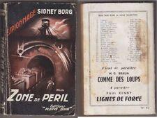 C1 PATRICK WALDBERG Sidney BORG Zone de Peril FN ESPIONNAGE 42 1954 Epuise