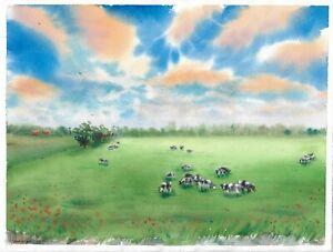 original painting 28 x 38 cm 137PO art watercolor landscape cow field clouds