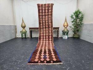 """Moroccan Handmade Vintage Runner Rug 2'1""""x11'4"""" Berber Geometric Brown Blue Rug"""
