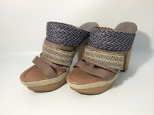 Lucky Brand Platform Wood Boho Heels Slides Woven Strappy Chunky Heel Hippie 9.5