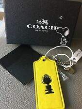 SALE SALLY Coach Peanuts X Leather Hangtag FOB CHARM SOLD OUT Yellow SNOOPY RARE