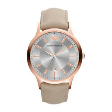 Emporio Armani AR2464 Women's Rose Gold Dial Brown Leather Strap Quartz Watch