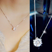 925 Silver Necklace Crystal Rhinestone Pendant Women Wedding Jewelry
