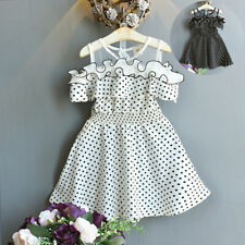 Toddler Kids Baby Girls Summer Dress Dot Printing Party Pageant Princess Dresses