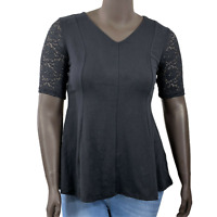 New $37 value DENIM&CO Size S Black Fit&Flare Knit Top Elbow Sleeve Lace Detail