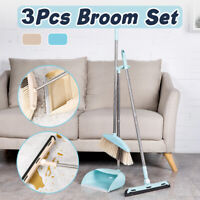 3Pcs Upright Long Handle Dustpan And Brush Set Sweeping Broom Lobby Cleaning New