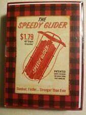 Vintage Sled Christmas Cards Retro Speedy Glider Red Black Plaid Box 18