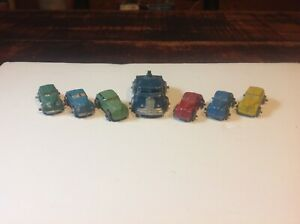 Lot of 6 Vintage Barclay 1930's Slush Mold Cast Toy Cars w/semi truck