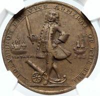 1739 Great Britain England UK ADMIRAL VERNON PORTO BELLO Medal NGC I85720