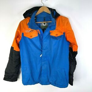 BURTON DRYRIDE Boys Blue Orange Black Winter Snowboard Fray Jacket Size L