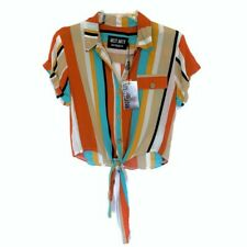 Muy Muy Striped Button Front Tie Top ~ Small Bold Orange Teal Stripes Cropped