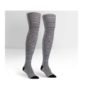 Over Knee Stripe Black/White Socks SITM Skate Horse Riding Sport Sock Goth Rock