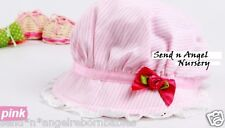 Cute Pink Striped Baby Bonnet with dark pink Bow for Newborn/ Reborn Doll
