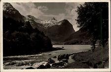 Norwegen Norge s/w AK 1936 gelaufen Das norwegische Märchenland Flußpartie Berge