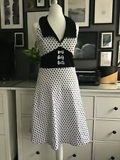 Living Dead Dress Polka Dot Spotty L 8 10 Fit Flare 50s Mad Med Goth