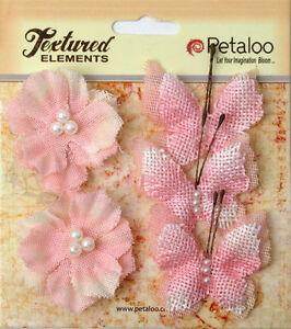 Burlap PINK 3 Butterflies 4x4.5cm & 2 Blossoms 4cm Across Petaloo 1203* BUR