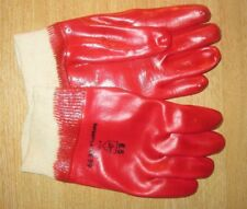 Multipurpose PVC Coated Red Gloves Size 6.5 (Small) With Knitted Wrists