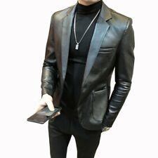 Men Leather jacket Outdoor Coat Lapel Slim fit One Button Casual Black Vintage