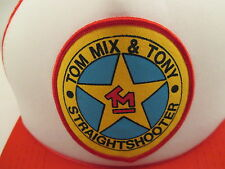 Vintage Tom Mix Patch Red Mesh Trucker Baseball Style Hat Cap Snapback