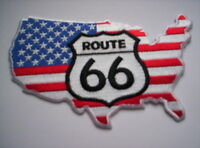 Biker Aufnäher   Route 66 on  USA-Flag  ca 12.5x 7,5cm