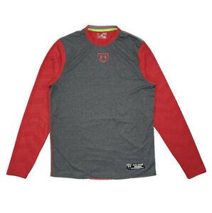 Men's Under Armour Baseball Game Day HeatGear Long Sleeve Shirt Red Gray Size M