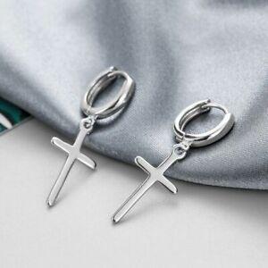 925 Sterling Silver Cross Dangle Hoop Earrings Women Girls Jewellery Gift