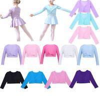 Kid Girls Ballerina Warm Cardigan Front Twist Cotton Wrap Top Dance Shrug Shawl
