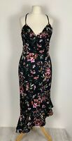 ASOS UK16 Floral Bodycon Dress Criss Cross Straps Asymmetrical Hem Stretchy