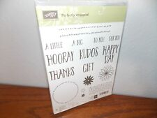 Stampin Up Perfectly Wrapped Happy Thanks Hooray 17 Clear Cling Stamp L0118