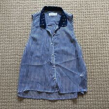 NEW ABERCROMBIE & FITCH BLUE & WHITE STRIPED CRYSTAL EMBELLISHED SHIRT SIZE M