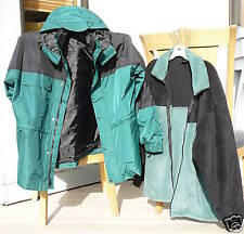 All season three-in-one jacket fleece liner teal green & black w/ hood NEW XL