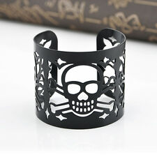 Hot Fashion Black Lace Cuff Bracelet Metal Alloy Hollow Skull Adjustable Bangle
