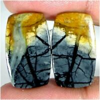 100% NATURAL SUPERIOR DESIGNER ROYAL PICASSO JASPER  PAIR CABOCHON  MOM171
