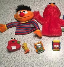 Sesame Street Gund Plush Puppets Elmo Ernie Used Plus Extra Toys