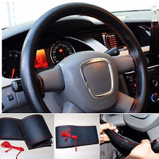 NEW BLACK & RED PU Leather Steering Wheel Cover With Needles & Thread DIY SIZE M